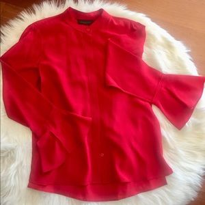 Donna Karan Silk Ruffle Sleeve Blouse NWT